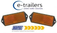 2 x AMBER SIDE TRAILER CARAVAN GATE POST CAR HORSEBOX REFLECTOR MP8853B 127x50x7